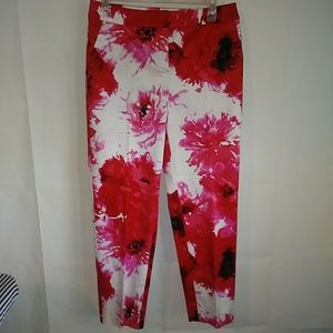 St John Women's Pants Red Pink Floral Size 6